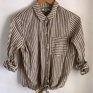 MADEWELL STRIPED TIE FRONT BUTTON UP